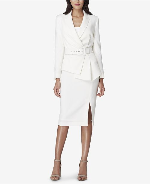 4689eb1a7d43 Tahari ASL Asymmetrical-Peplum Belted Skirt Suit & Reviews - Wear to ...