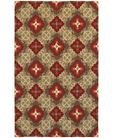 "CLOSEOUT! Tommy Bahama Home   Atrium Indoor/Outdoor 51109 Brown/Red 3'6"" x 5'6"" Area Rug"