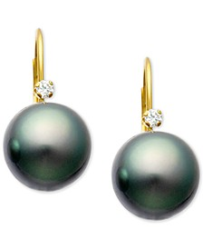 Cultured Tahitian Pearl (9mm) & Diamond Accent Lever Back Earrings in 14k Gold