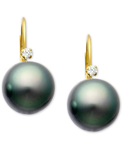 14k Gold Macy S Cultured Tahitian Pearl 9mm Diamond Accent Lever Back Earrings In