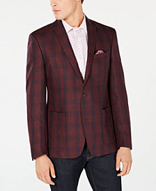 Bar III Men's Slim-Fit Red/Navy Plaid Sport Coat, Created for Macy's