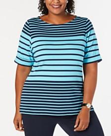 7c3460119e9cb Karen Scott Plus Size Striped Elbow-Sleeve Top