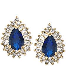 Sapphire (1 ct. t.w.) & Diamond (1/3 ct. t.w.) Stud Earrings in 14k Gold