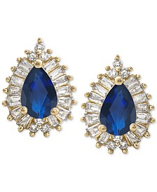 Sapphire (1 ct. t.w.) & Diamond (1/3 ct. t.w.) Stud Earrings in 14k Gold (Also Available in Emerald & Certified Ruby)