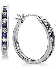Sapphire (3/8 ct. t.w.) & Diamond (1/4 ct. t.w.) Hoop Earrings in 14k White Gold