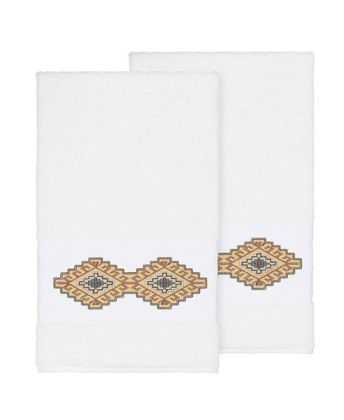 Linum Home - Gianna 2-Pc. Embroidered Turkish Cotton Bath Towel Set