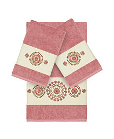 Linum Home Isabelle 3-Pc. Embroidered Turkish Cotton Bath and Hand Towel Set
