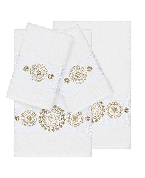 Linum Home Isabelle 4-Pc. Embroidered Turkish Cotton Bath and Hand Towel Set