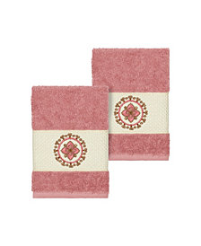 Linum Home Isabelle 2-Pc. Embroidered Turkish Cotton Washcloth Set