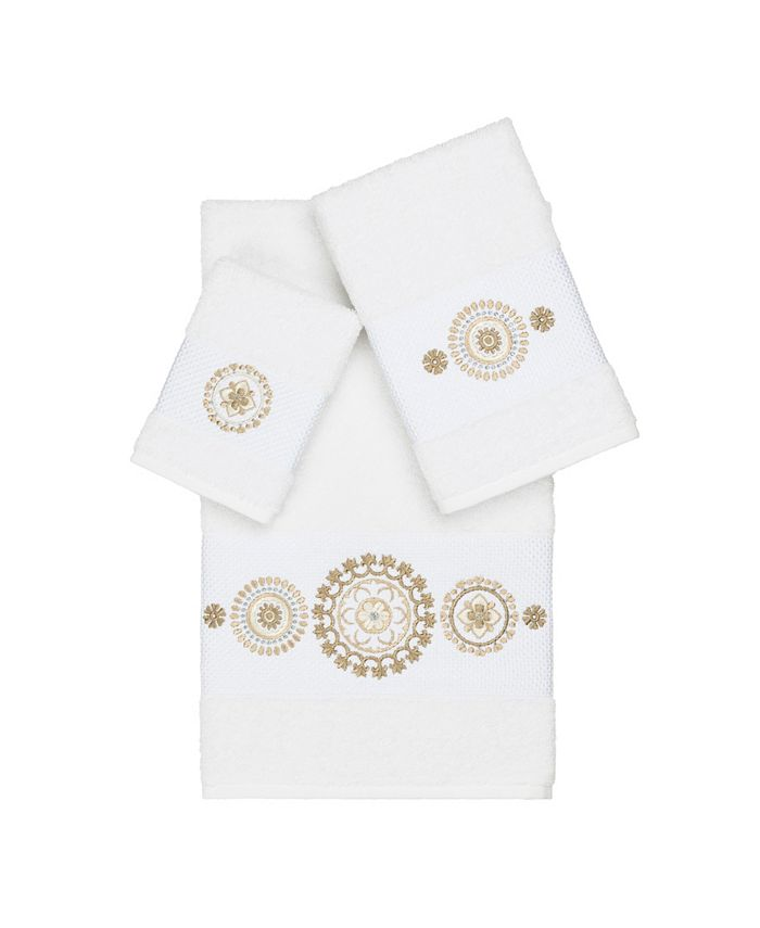 Linum Home - Isabelle 3-Pc. Embroidered Turkish Cotton Towel Set