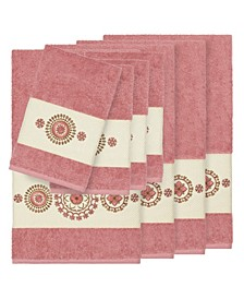 Isabelle 8-Pc. Embroidered Turkish Cotton Bath and Hand Towel Set