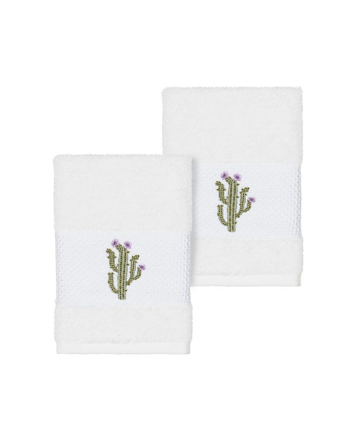 Linum Home - Mila 2-Pc. Embroidered Turkish Cotton Washcloth Set