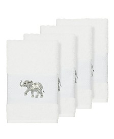 Linum Home Quinn 4-Pc. Embroidered Turkish Cotton Hand Towel Set