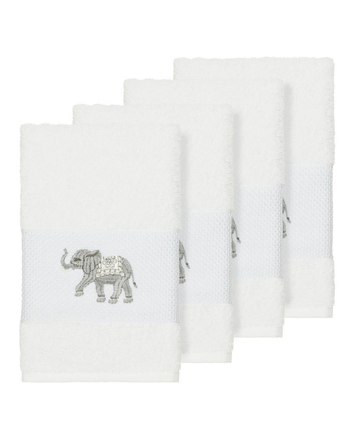 Linum Home - Quinn 4-Pc. Embroidered Turkish Cotton Hand Towel Set