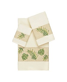 Linum Home Zoe 3-Pc. Embroidered Turkish Cotton Towel Set