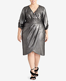 RACHEL Rachel Roy Trendy Plus Size Metallic Wrap Dress