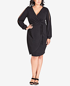 City Chic Trendy Plus Size Split-Sleeve Faux-Wrap Dress