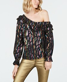 Rachel Zoe Metallic Ruffle-Trim One-Shoulder Top