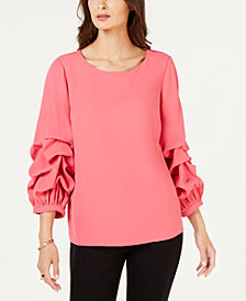 Alfani Gathered Balloon-Sleeve Top, Created for Macy's