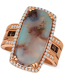 Sky Aquaprase (21 x 10mm) & Multi-Gemstone (1/2 ct. t.w.) Ring in 14k Rose Gold, Created for Macy's