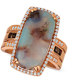 Le Vian® Sky Aquaprase (21 x 10mm) & Multi-Gemstone (1/2 ct. t.w.) Ring in 14k Rose Gold, Created for Macy's