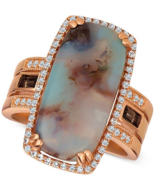 Le Vian Sky Aquaprase (21 x 10mm) & Multi-Gemstone (1/2 ct. t.w.) Ring in 14k Rose Gold, Created for Macy's