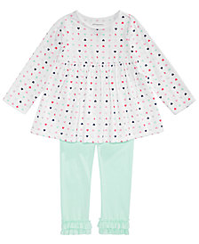 First Impressions Baby Girls Heart-Print Tunic & Ruffled Leggings Separates, Created for Macy's