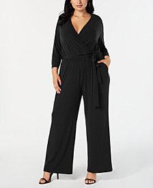 Alfani Plus Size Tie-Waist Jumpsuit, Created for Macy's