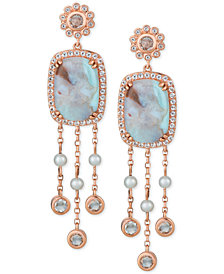 Le Vian® Turquoise Aquaprase (14 x 10mm), White Topaz (1-1/2 ct. t.w.) & Cultured Freshwater Pearl (3mm) Drop Earrings in 14k Rose Gold