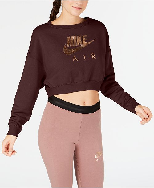 ce33a2c5bcff8 Nike Sportswear Metallic-Logo Cropped Sweatshirt   Reviews - Tops ...