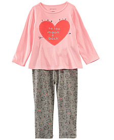 First Impressions Baby Girls Heart-Print Tunic & Cat-Print Leggings Separates, Created for Macy's