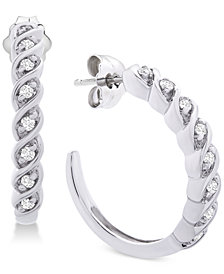 Diamond Hoop Earrings (1/6 ct. t.w.) in Sterling Silver