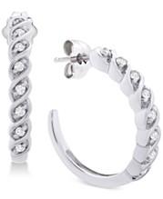 465c7153eac36a Diamond Hoop Earrings (1/6 ct. t.w.) in Sterling Silver