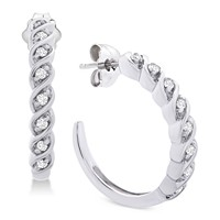 Deals on Macy's Diamond Hoop Earrings 1/6 ct. t.w. in Sterling Silver