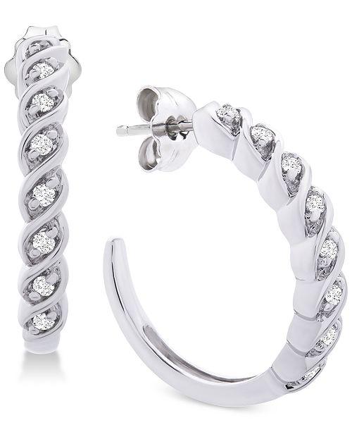 Diamond Hoop Earrings 1 6 Ct T W In Sterling Silver