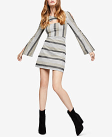 BCBGeneration Striped Cutout A-Line Dress