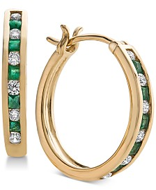 Sapphire (3/8 ct. t.w.) & Diamond (1/4 ct. t.w.) Hoop Earrings in 14k White Gold (Also Available in Emerald & Certified Ruby)