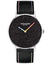Women's Perry Black Leather Strap Watch 36mm Created for Macy's