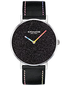 COACH Women's Perry Black Leather Strap Watch 36mm Created for Macy's