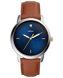 Fossil Men's Minimalist Diamond Brown Leather Strap Watch 44mm