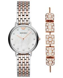 Women's Dress Two-Tone Stainless Steel Bracelet Watch 32mm Gift Set