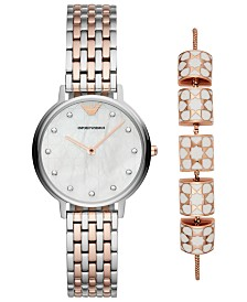 Emporio Armani Women's Dress Two-Tone Stainless Steel Bracelet Watch 32mm Gift Set