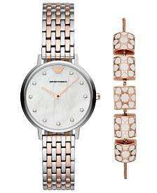 Emporio Armani Women's Dress Two-Tone Stainless Steel Bracelet Watch 32mm Gift Set