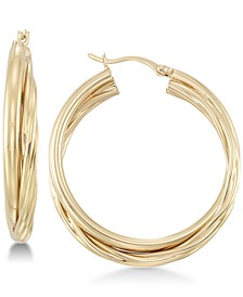Double Twisted Hoop Earrings in 18k Gold over Sterling Silver
