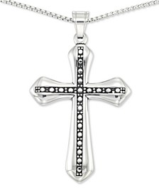 "Beaded Cross 24"" Pendant Necklace in Stainless Steel"