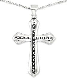 "LEGACY for MEN by Simone I. Smith Beaded Cross 24"" Pendant Necklace in Stainless Steel"