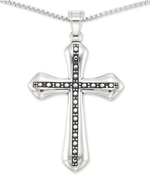 """LEGACY for MEN by Simone I. Smith Beaded Cross 24"""" Pendant Necklace in Stainless Steel"""