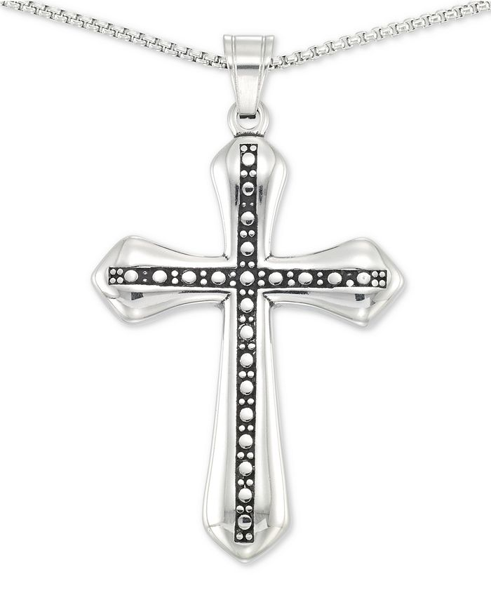 """LEGACY for MEN by Simone I. Smith - Beaded Cross 24"""" Pendant Necklace in Stainless Steel"""