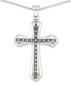 """Smith Beaded Cross 24"""" Pendant Necklace in Stainless Steel"""