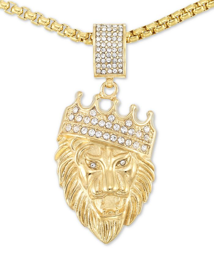 """LEGACY for MEN by Simone I. Smith - Crystal Lion King 24"""" Pendant Necklace in Yellow Ion-Plated Stainless Steel"""